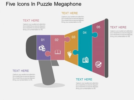 Five Icons In Puzzle Megaphone Powerpoint Templates