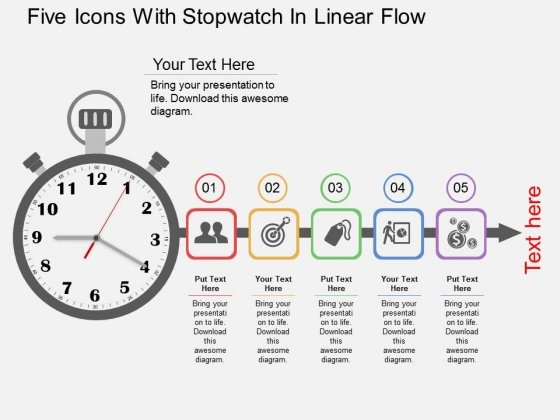 Five Icons With Stopwatch In Linear Flow Powerpoint Templates
