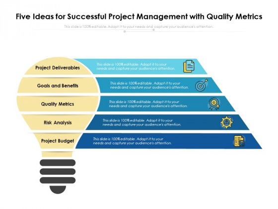 Five Ideas For Successful Project Management With Quality Metrics Ppt PowerPoint Presentation File Vector PDF