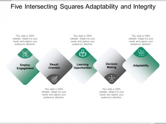 Five Intersecting Squares Adaptability And Integrity Ppt PowerPoint Presentation Ideas Introduction