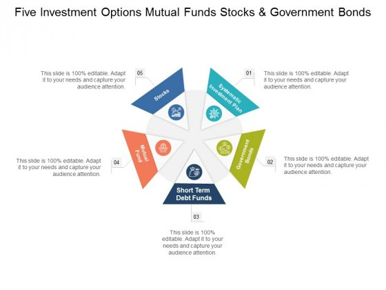 Five Investment Options Mutual Funds Stocks And Government Bonds Ppt PowerPoint Presentation Pictures Skills