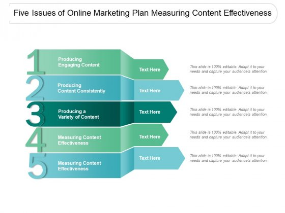 Five Issues Of Online Marketing Plan Measuring Content Effectiveness Ppt PowerPoint Presentation Icon Graphics Example