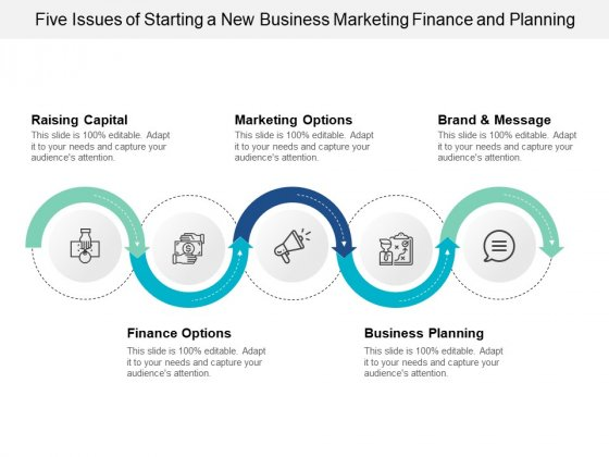 Five Issues Of Starting A New Business Marketing Finance And Planning Ppt PowerPoint Presentation Gallery Design Inspiration