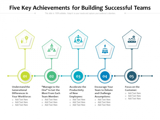 Five Key Achievements For Building Successful Teams Ppt PowerPoint Presentation File Graphics Template PDF