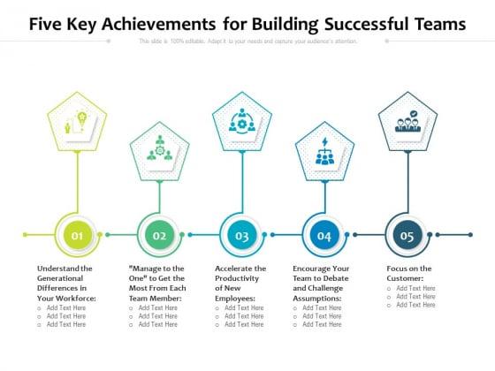 Five Key Achievements For Building Successful Teams Ppt PowerPoint Presentation File Graphics Template PDF