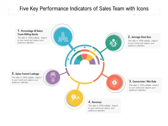 Five Key Performance Indicators Of Sales Team With Icons Ppt PowerPoint Presentation Gallery Introduction PDF