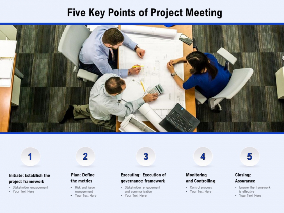 Five Key Points Of Project Meeting Ppt PowerPoint Presentation Professional Elements