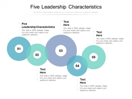 Five Leadership Characteristics Ppt PowerPoint Presentation Infographics Slideshow Cpb