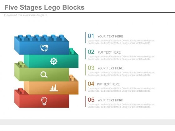 Five Lego Blocks With Business Icons Powerpoint Slides