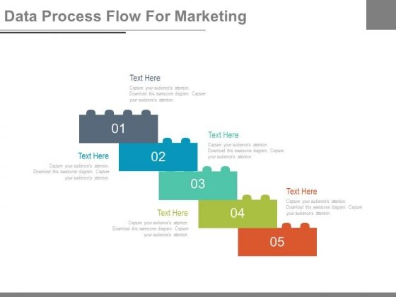 Five Lego Steps For Process Flow Powerpoint Slides