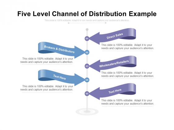 Five Level Channel Of Distribution Example Ppt PowerPoint Presentation Ideas Slide Portrait PDF