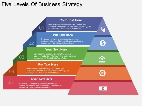 Five Levels Of Business Strategy Powerpoint Template