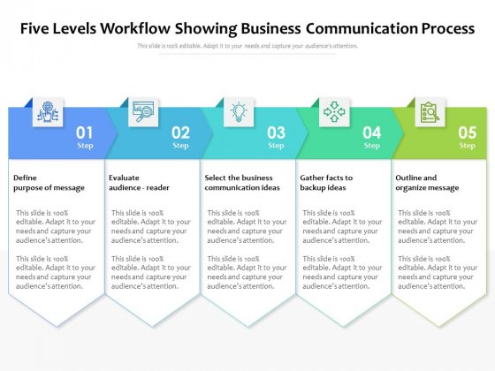 Five Levels Workflow Showing Business Communication Process Ppt PowerPoint Presentation Gallery Professional PDF