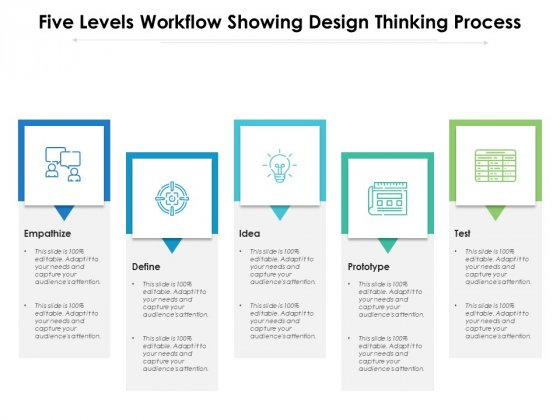 Five Levels Workflow Showing Design Thinking Process Ppt PowerPoint Presentation Gallery Guidelines PDF