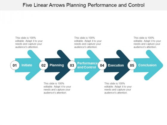 Five Linear Arrows Planning Performance And Control Ppt Powerpoint Presentation Portfolio Show