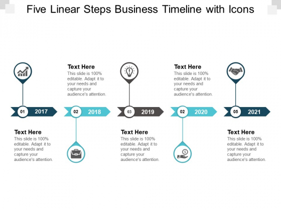 Five Linear Steps Business Timeline With Icons Ppt PowerPoint Presentation Styles Design Templates