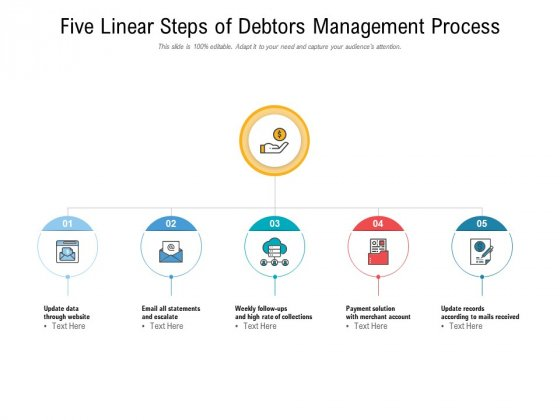 Five Linear Steps Of Debtors Management Process Ppt PowerPoint Presentation Show Designs