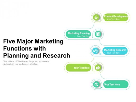 Five Major Marketing Functions With Planning And Research Ppt PowerPoint Presentation Gallery Inspiration PDF