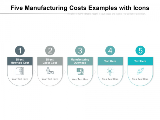 Five Manufacturing Costs Examples With Icons Ppt PowerPoint Presentation Layouts Influencers PDF
