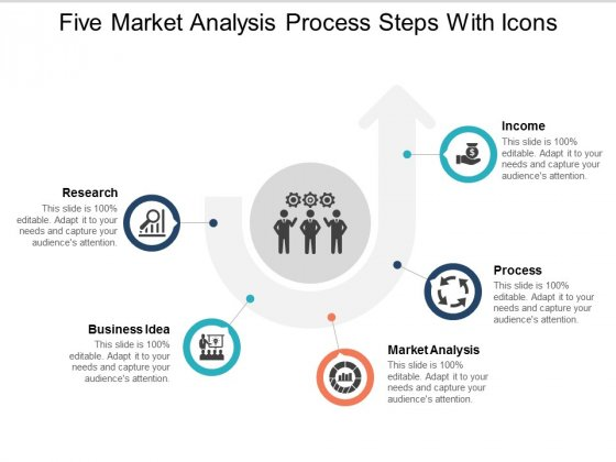 Five Market Analysis Process Steps With Icons Ppt Powerpoint Presentation Portfolio Background Image