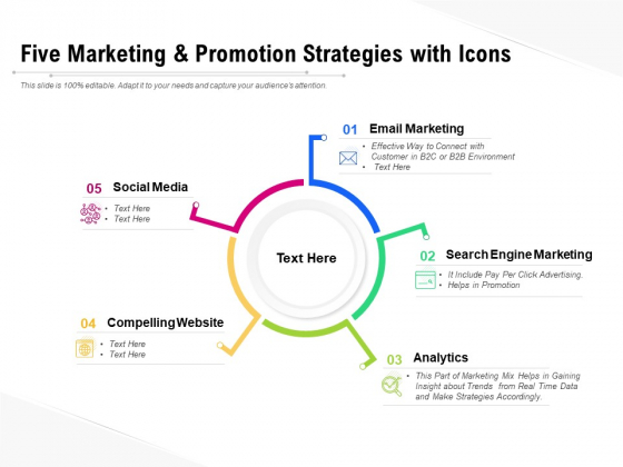 Five Marketing And Promotion Strategies With Icons Ppt PowerPoint Presentation Show Icon