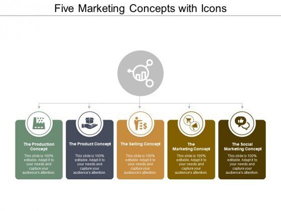 Five Marketing Concepts With Icons Ppt PowerPoint Presentation Slides Design Templates