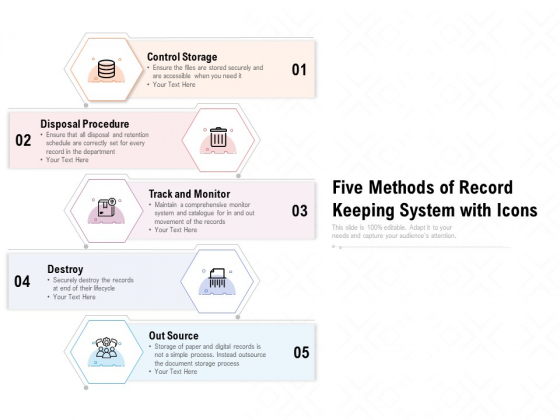 five methods of record keeping system with icons ppt powerpoint presentation styles influencers