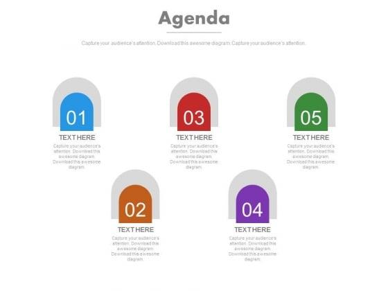 Five Milestones Of Business Agenda Powerpoint Slides