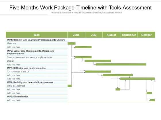 Five Months Work Package Timeline With Tools Assessment Ppt PowerPoint Presentation File Inspiration PDF