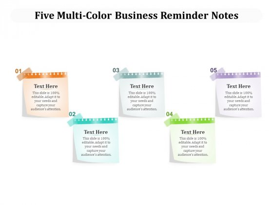 Five Multi Color Business Reminder Notes Ppt PowerPoint Presentation Icon Structure PDF
