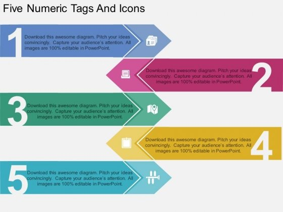 Five Numeric Tags And Icons Powerpoint Template