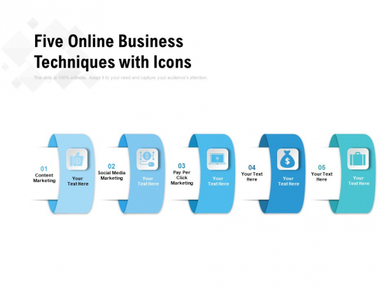 Five Online Business Techniques With Icons Ppt PowerPoint Presentation Inspiration Mockup PDF