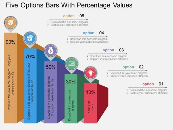 Five Options Bars With Percentage Values Powerpoint Template