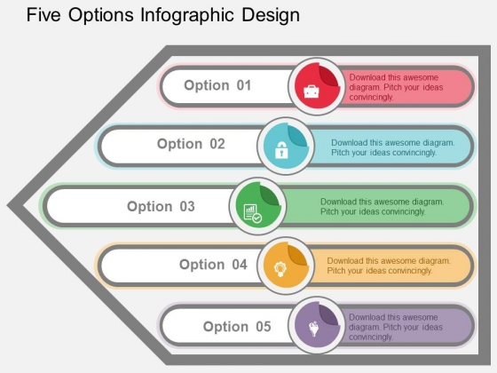 Five Options Infographic Design Powerpoint Templates