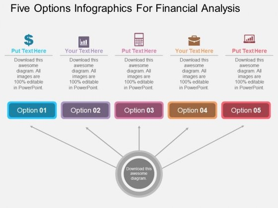 Five Options Infographics For Financial Analysis Powerpoint – Financial Analysis Template