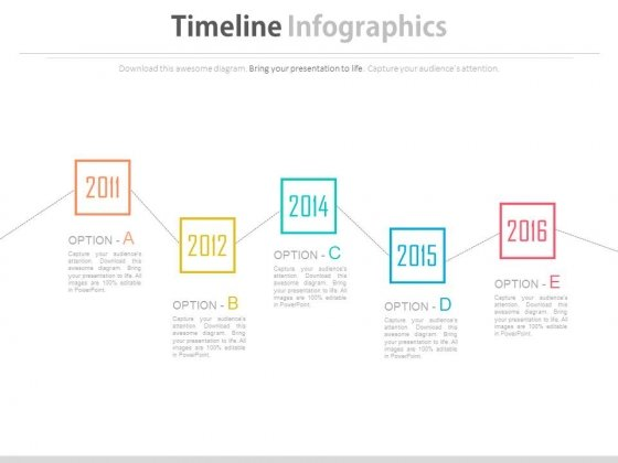 Five Options Zigzag Timeline Diagram Powerpoint Slides