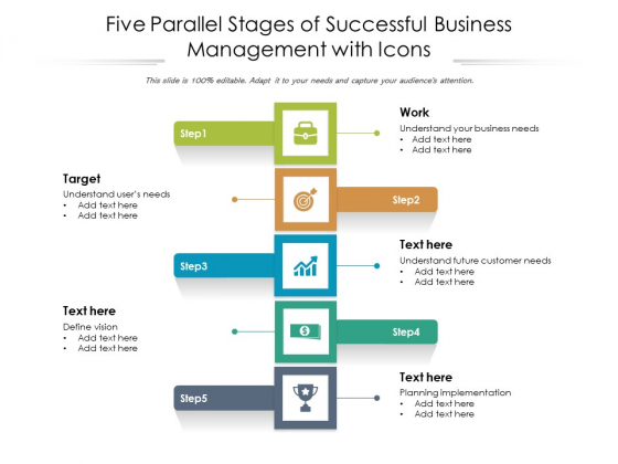 Five Parallel Stages Of Successful Business Management With Icons Ppt PowerPoint Presentation Slides Shapes PDF
