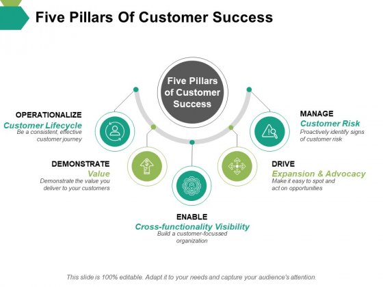 Five Pillars Of Customer Success Ppt PowerPoint Presentation Icon Model