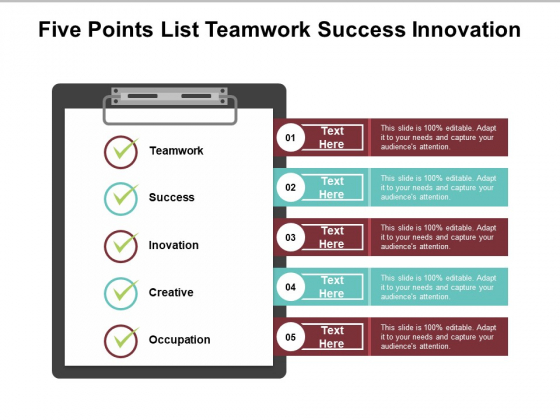 Five Points List Teamwork Success Innovation Ppt Powerpoint Presentation Inspiration Maker