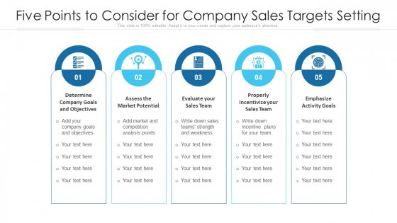 Five Points To Consider For Company Sales Targets Setting Ppt PowerPoint Presentation File Microsoft PDF