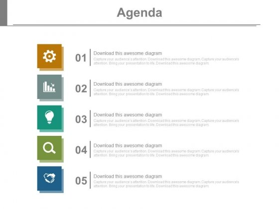 Five Points Vertical Chart For Business Agenda Powerpoint Slides