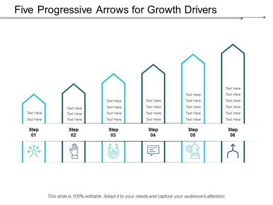 Five Progressive Arrows For Growth Drivers Ppt Powerpoint Presentation Slides Structure