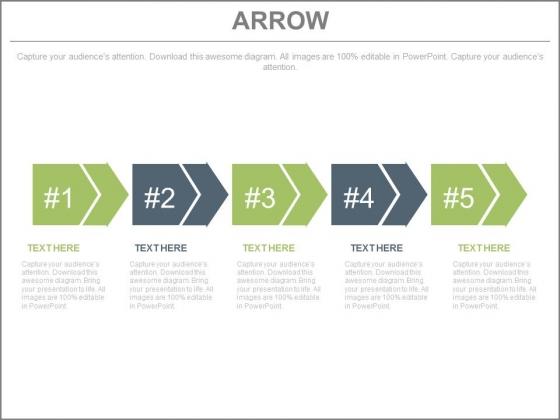 Five Progressive Arrows For Process Flow Powerpoint Template