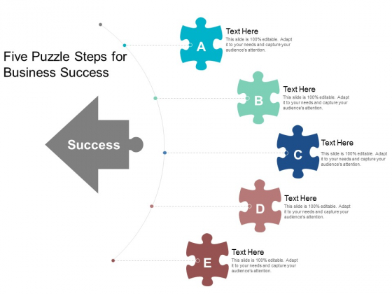 Five Puzzle Steps For Business Success Ppt Powerpoint Presentation Layouts Images