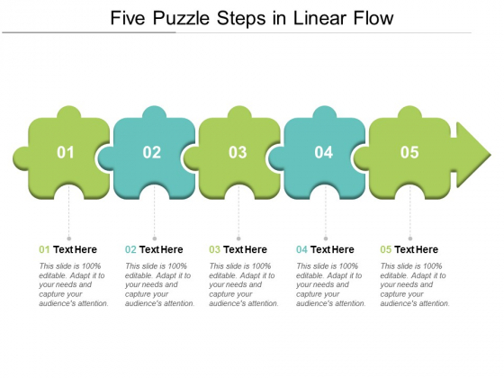 Five Puzzle Steps In Linear Flow Ppt Powerpoint Presentation Portfolio Example Topics