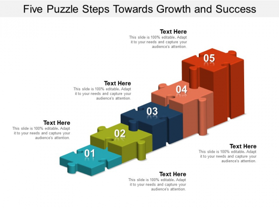 Five Puzzle Steps Towards Growth And Success Ppt PowerPoint Presentation Slides Grid
