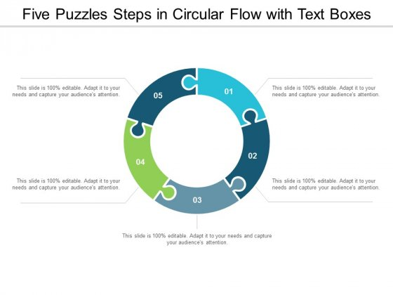 Five Puzzles Steps In Circular Flow With Text Boxes Ppt Powerpoint Presentation Infographics Guidelines