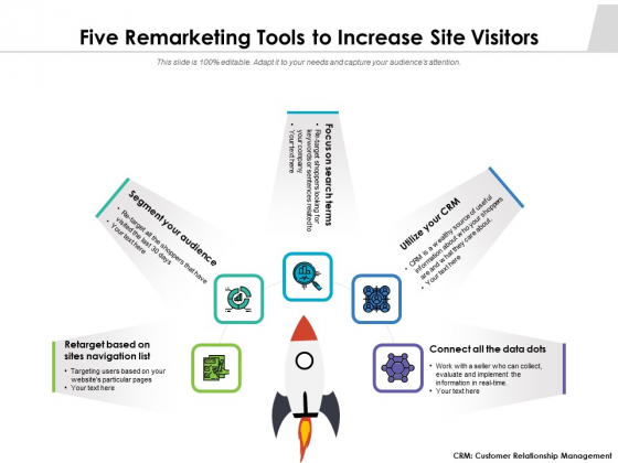 Five Remarketing Tools To Increase Site Visitors Ppt PowerPoint Presentation File Format PDF