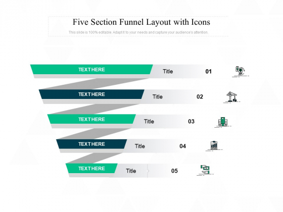 Five Section Funnel Layout With Icons Ppt PowerPoint Presentation Professional Example Topics