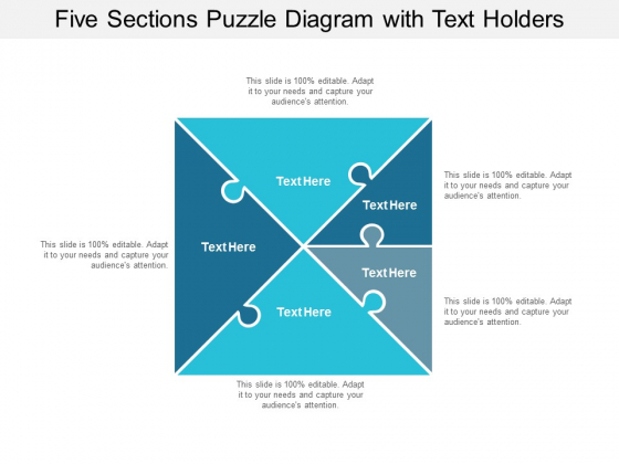 five sections puzzle diagram with text holders ppt powerpoint presentation outline files